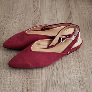 **2 for $14** New Wine Red Mules with Heel Straps